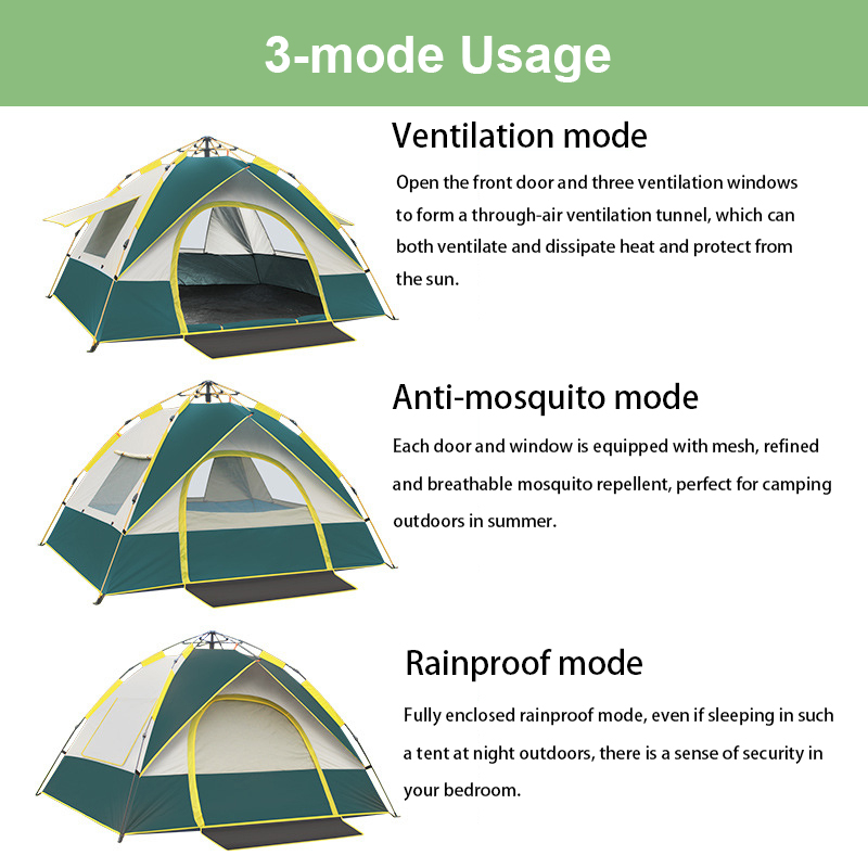 Goat Automatic Pop Up Fast Outdoor Family Camping Rainproof Windproof Sunshade Tents for Fishing Hiking Beach Travel 4 Season