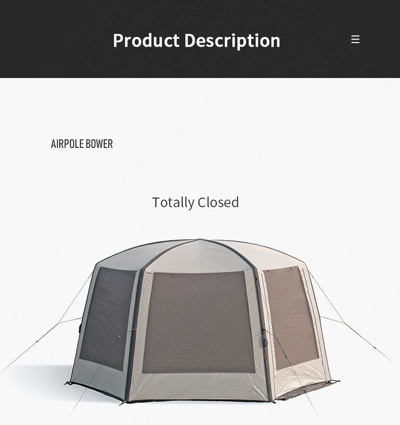 Goat Cloud Nest Hexagonal Inflatable Big Space Tent  Sunscreen Awning Outdoor Beach Camping Tent Canopy With Air Pump