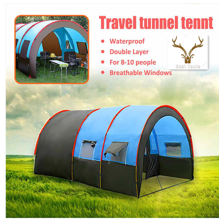 Goat Tunnel 8-10 People Waterproof Portable Travel Camping Hiking Tent For Big Family 4 Seasons