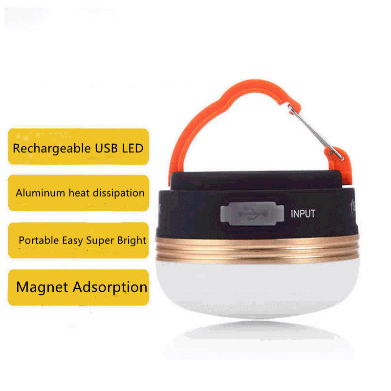 USB Rechargeable Led Camping Tents Lights Magnet Portable Lantern Outdoor Handle Camping Waterproof Emergency Lighting